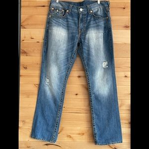 True Religion Straight distressed blue jeans